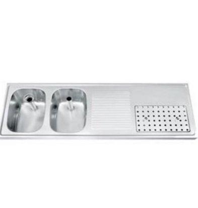 Gamko Buffet Journal RVS + 2 sinks Links | Gamko CO BB1502L | Cross Motif | 500x1500mm | DRESSER