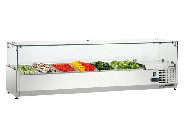 Bartscher Gekoelde opzetvitrine met Glas Top - 5x 1/3 GN + 1x 1/2 GN - 150x40x(H)42,5 cm