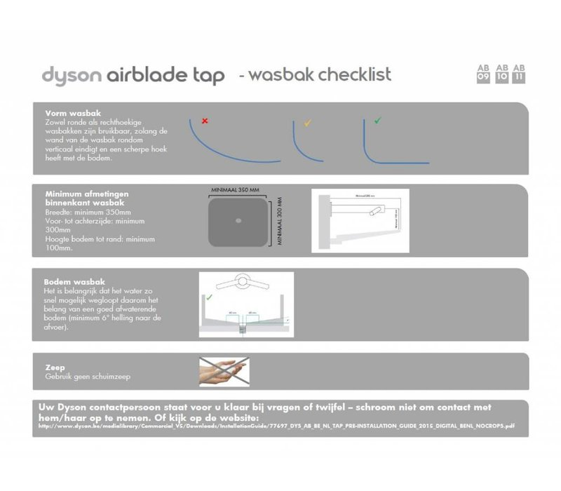 Dyson Dyson Airblade WD05 Wash + Dry - Tap AB10 - Lange hals