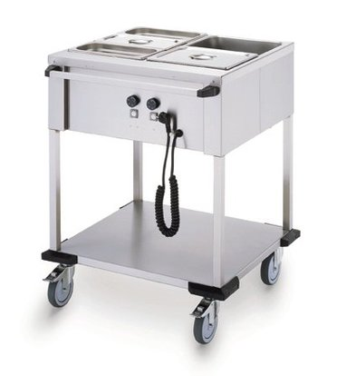 Mobile Containing Bain-Marie Wagen 2 x 1/1 GN | Mobile Containing | 2x 850W | Bediening Lange Zijde | 702x631x902mm