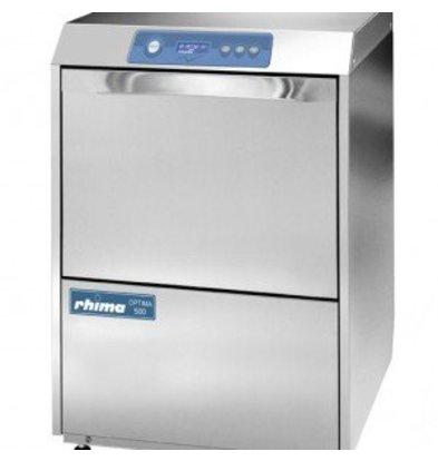 Rhima Glasswasher + Drain pump 40x40cm | RHIMA Optima 400 Plus | 6 Wash programs | 450x535x720mm