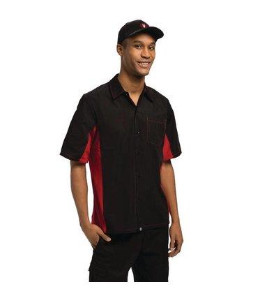 Colour by Chef Works Contrast Shirt Zwart/Rood | Chef Works | Cool Vent | Beschikbaar in 4 Maten