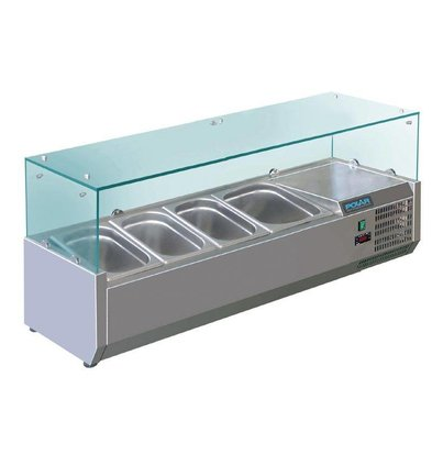 Polar Refrigerated display case design stainless   5x 1 / 3GN   1200 (b) X380 (L) x435 (H) mm