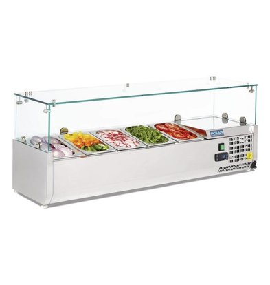 Polar Refrigerated display case design stainless   5x GN1 / 4   1200 (b) X380 (d) x435 (H) mm