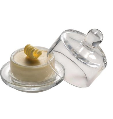 APS Boterschaaltje + Glazen Deksel   Ø90x90mm