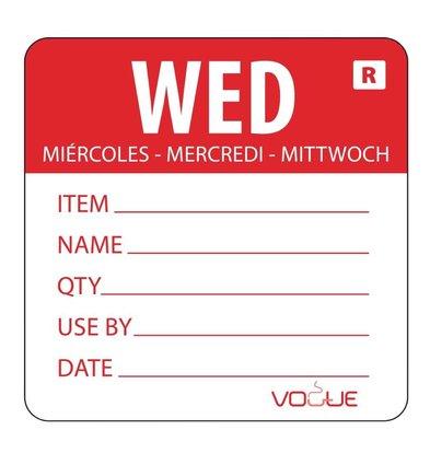Vogue Kleurcode-Sticker Woensdag | Rood | per 500