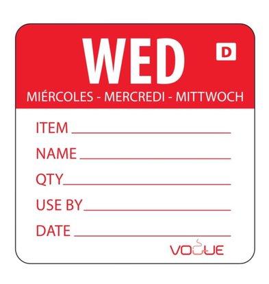 Vogue Kleurcode Sticker Woensdag | Oplosbaar | Rol 250 Stuks