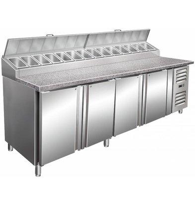 Saro Pizzawerkbank XXL - 4-Deurs + Opzet 14x1/3GN + Graniet Werkblad - Bakkerij 600x400mm - 2500mm(b)