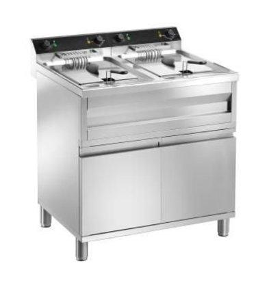 Saro fryer | electric | 2 x 12 Liter | 400V | 2 x 9kW | With drain valve | 800x700x (H) 850mm