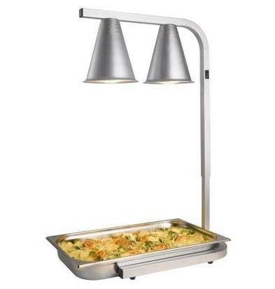 Saro Warmhoudlamp Dubbel - Infrarood - Aluminium - GN Houder - 350x425x(H)595-795mm