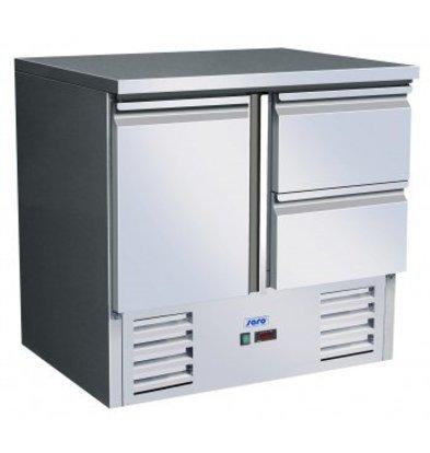 Saro Cool Workbench - Stainless Steel - 90x70x (h) 85 / 88cm - 1 door + 2 drawers