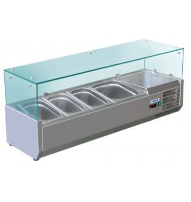 Saro Refrigerated display case design with Glass Top - 3x 1/3 + 1x 1/2 GN or 6 x 1/6 + 1x 1/2 GN - 120x38x (H) 43.5 cm