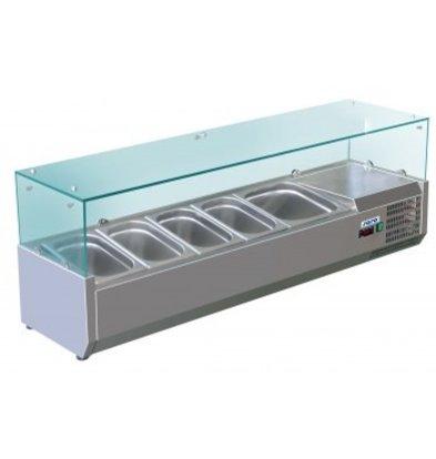 Saro Opzetkoelvitrine RVS met Glas Top - 4x 1/3 + 1x 1/2 GN of 8x 1/6 + 1x 1/2 GN -140x38x(H)43,5cm
