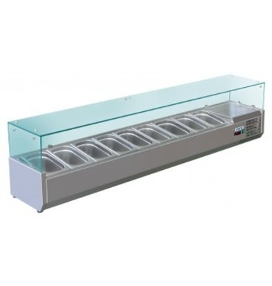 Saro Refrigerated display case design with Glass Top - 9x or 18x 1/3 GN 1/6 GN - 200x38x (H) 43.5 cm