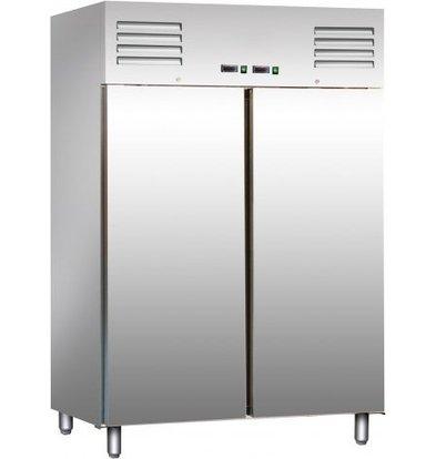 Saro RVS Koel/Vrieskast 2 x 537 Liter - 134x65x(h)138cm - 2 jaar garantie