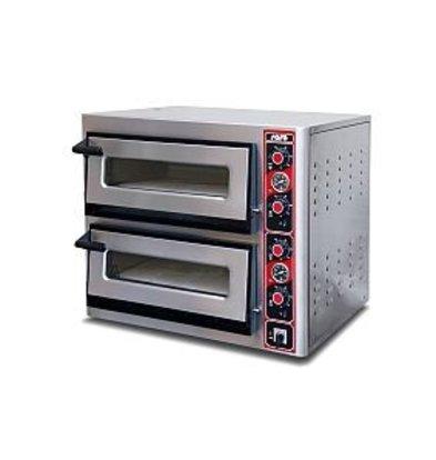Saro Pizza Oven Elektrisch Dubbel | 2x 4 Pizza's Ø30cm | 400V | 4,4kW | 890x710x(H)770mm