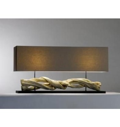Saro Table Lamp Series Zenjoy | Model INOLA | Wood / Cotton | 40W | 1150x250x (H) 570mm