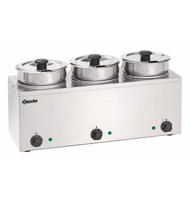 Bartscher Hotpot Bain-Marie | 3x3,5 Liter | Stainless steel | 0,45kW | 610x210x (H) 320mm
