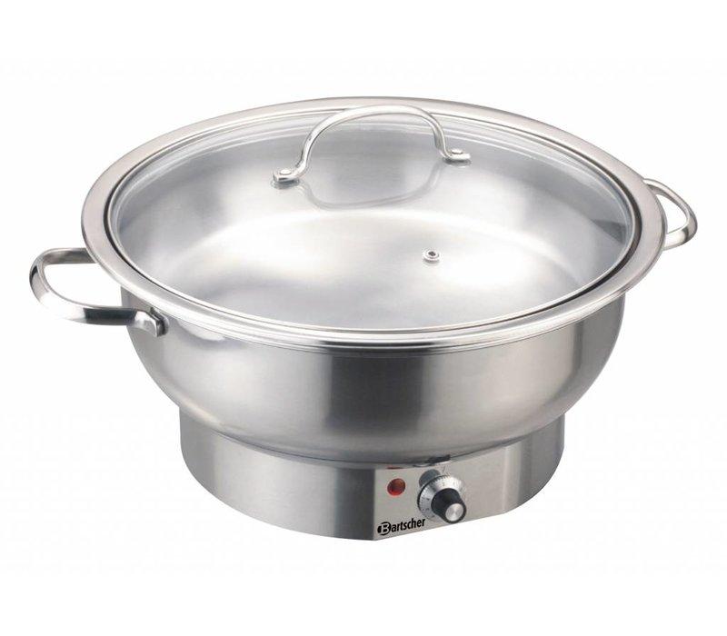 Bartscher Elektrische Chafing Dish | Chroomnikkelstaal | Rond | 3,8 Liter | Regelbare Thermostaat | 330x(H)220mm