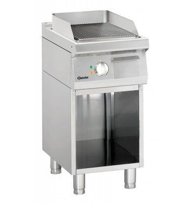 Bartscher Electric griddle - Ribbed - 40x70x (h) 85/90 - Open substructure - 400V / 5kW