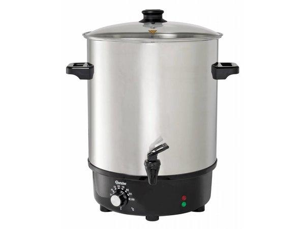 Bartscher XXL Gluhwein ketel RVS | Glazen Deksel | Heetwaterdispenser | Ø450mm | 30 liter