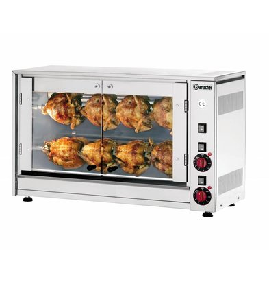 Bartscher Electric Chicken Grill - 2 Digging - 880x430x (h) 530mm - 3.5KW - 8 Chickens