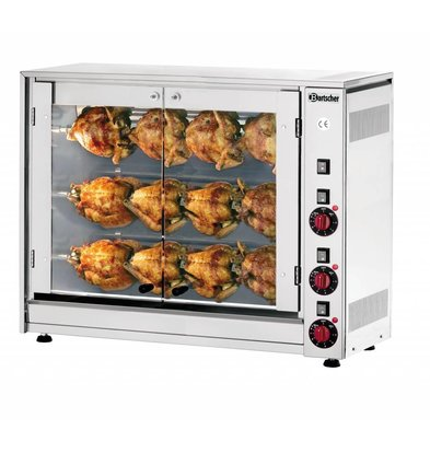 Bartscher Electric Chicken Grill - 3 Spits - 880x430x (h) 710mm - 5 KW - 12 Hens