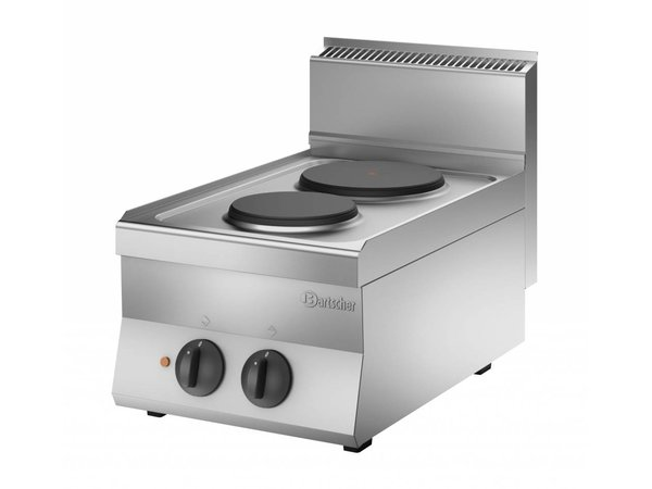 Bartscher Kooktoestel met 2 Elektrische Kookplaten | 4,1 kw | 400x650x(H)295 mm