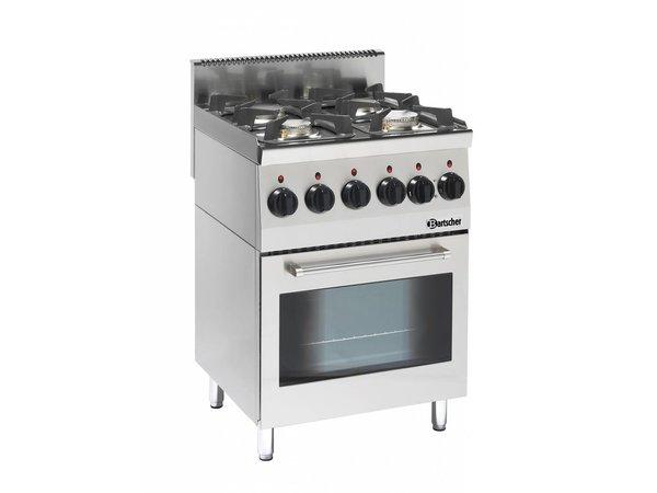 Bartscher Gasfornuis 4 Pits + Elektrische Oven + Grill | Serie 600 | 230V | 600x600x(H)900mm