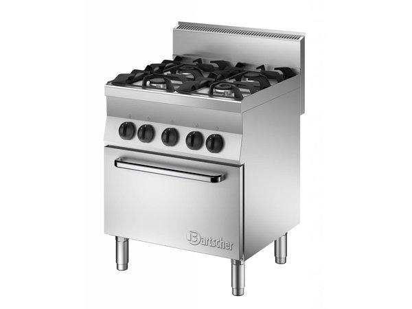 Bartscher Gas Fornuis 4 Pits + Elektrische oven 1/1 GN | 400V | 700x650x(H)870mm