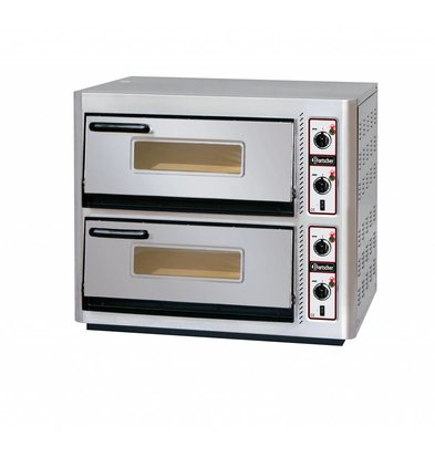 Bartscher Pizzaoven Dubbel Elektrisch | 2 x 4 Pizza's Ø30cm | 400V | 10kW | 910x810x(H)770mm