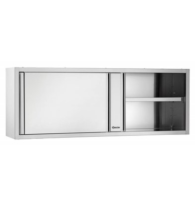 Bartscher Hangkast RVS - met 2 Schuifdeuren - 1 Verstelbaar Tussenschap   1400(B)   400(D)   660(H)mm