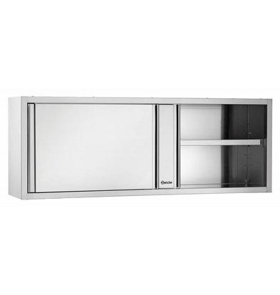 Bartscher Wardrobe stainless steel - with 2 Sliding doors - Between 1 Adjustable Shelf | 1400 (B) | 400 (D) | 660 (H) mm