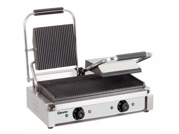 Bartscher Elektrische dubbele contact grill - grillplaten geribbeld - 57x37x(h)20 - 3600W