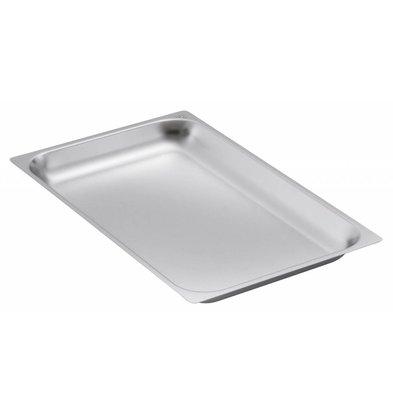 Bartscher GN-bakken, versterkte rand - bakblik 2/1 - GN, 65 mm, CNS 18/10 | 650x530mm