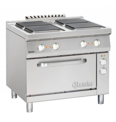 Bartscher Electric Cooking 4x Series 900 + electric oven 2/1 GN | 400V | 900x900x (H) 850-900mm