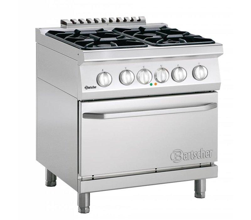 Bartscher Gasfornuis 4 Pits + Elektrische Oven 2/1 GN | 400V | 800x700x(H)850-900 mm