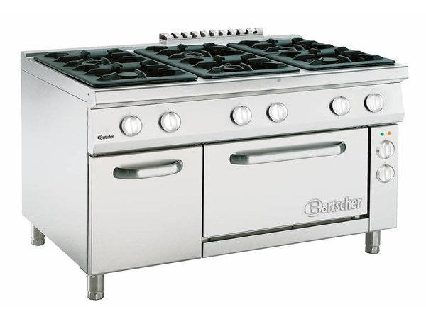 Bartscher Gasfornuis 6 Pits Serie 900 + Elektrische Oven 2/1 GN | 400V | 1350x900x(H)850-900mm