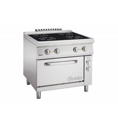 Bartscher Keramisch Fornuis met 4 Kookzones + Elektrische oven 2/1 GN   400V   900x900x(H)850-900mm