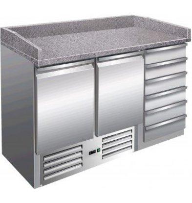 Saro Pizzawerkbank - RVS - 2 deurs en 6 lades -142 x70x(h)102cm