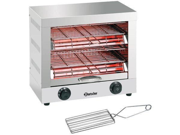 Bartscher Toaster/ Kwarts gratineeroven, dubbel met tijdklokschakelaar - 44x26x(H)40cm -3000W