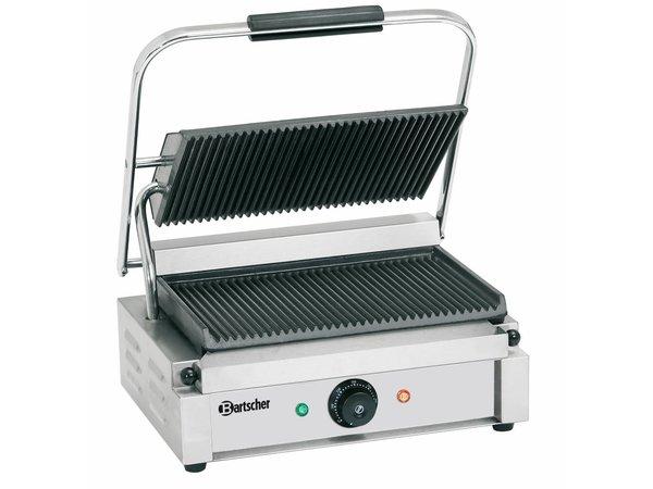 """Bartscher Electrische contact grill """"Panini"""" - Geribd/Geribd - 41x37x(h)20 - 2200W"""