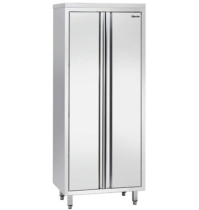 Bartscher Porcelain Cabinet stainless steel with three wear Shelves - 800x600x2000mm