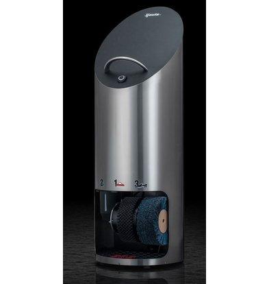 Heute Schoenpoetsmachine Elipse Plus | RVS + Zwart Lederen Afwerking | 2 Borstels | Ø440x1270(h)mm