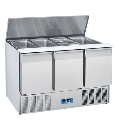 CaterCool Saladette CaterCool RVS 3 Deurs | 1370x700x(H)850mm | 4x 1/1 GN