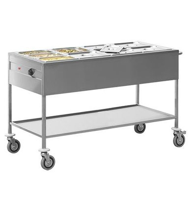 Caterchef Bain-Marie trolley   Double walled stainless steel   670x1490x (H) 860mm   4 / 1GN