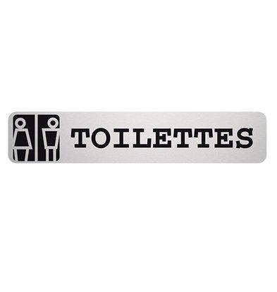 XXLselect Tekstplaatje Toilettes Rechthoekig   Zelfklevend Aluminium   85x160mm