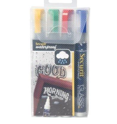 Securit Waterproof Krijtstiften BLauw, Rood, Groen, Geel   2-6mm   4 Stuks