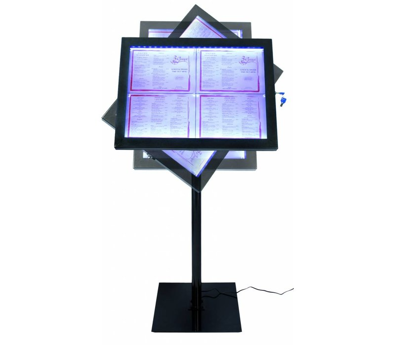 Securit Menu cabinet lit Black Set | 4xA4 | XXL OFFER