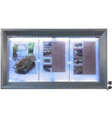Securit Menukast met LED Verlichting - Gelakt Staal - 3xA4